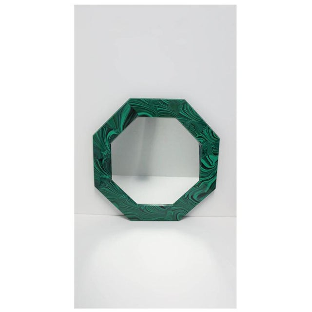 Green Malachite Octagonol Wall Mirror For Sale - Image 11 of 13