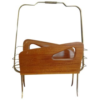 1950's Italian Gio Ponti Brass and Walnut Magazine Rack For Sale