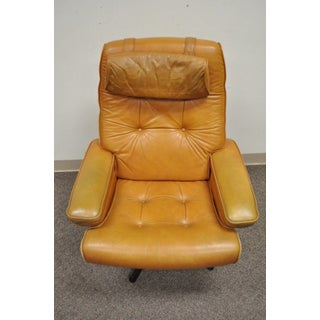 Gote Mobler Nassjo Mid Century Modern Caramel Leather Lounge Chair & Ottoman Vintage Preview