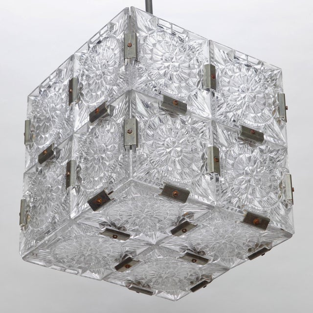 Mid Century Glass Cube Pendant Light in the Style of Kalmar For Sale In Detroit - Image 6 of 7