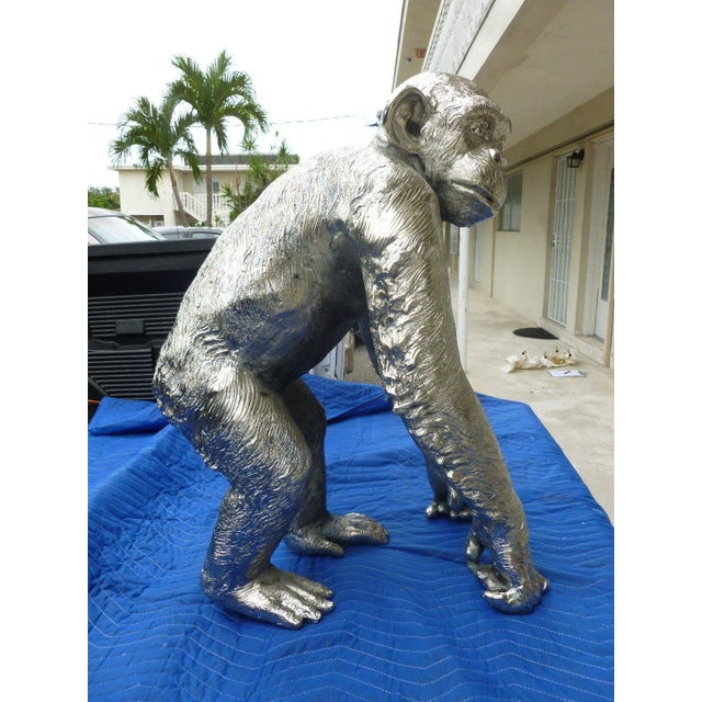 Bronze 1970s Modern Life Size Nickel Plated Bronze Chimpanzee Statue For Sale - Image 7 of 13