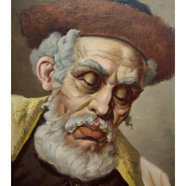 Lajos Polczer - Portrait of a Patriarch Rabbi -Oil Painting For Sale - Image 4 of 10