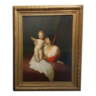19th century Italian Master -Mother & Child -Oil painting c1840s
