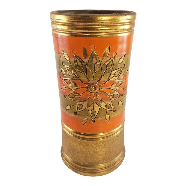 Mid Century Modern Italian Bitossi Italy Sun Rosenthal Netter Pottery Vase Vintage Sunburst Orange Gold For Sale