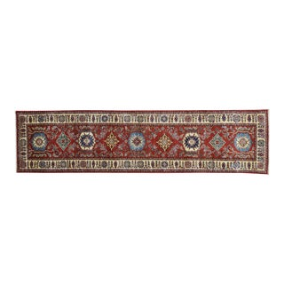 Red Hand Knotted Kazak Runner- 2′7″ × 10′5″ For Sale