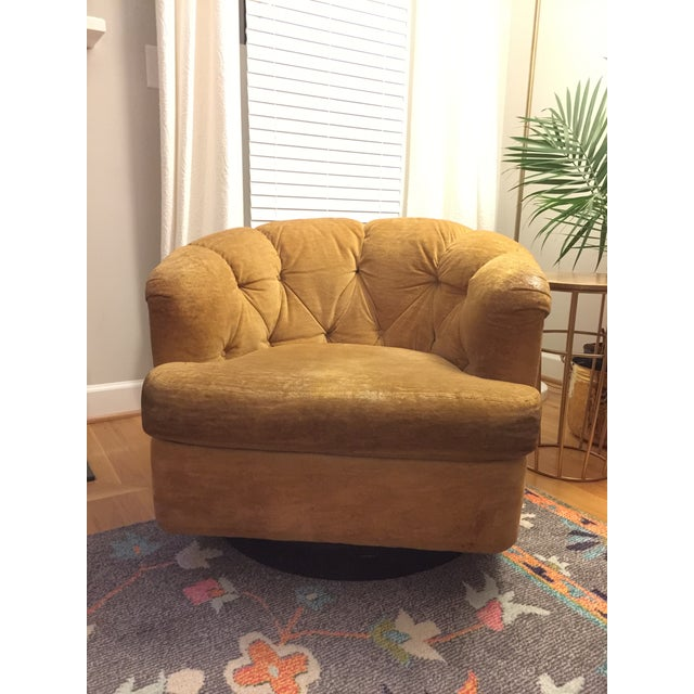 Mid-Century Baughman Style Plinth Base Swivel Chair For Sale - Image 10 of 10