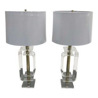 Geometric Lucite Table Lamps - a Pair For Sale