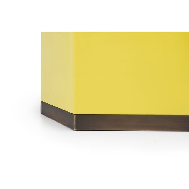 Contemporary Hexagonal Bin in Mustard Yellow - Veere Grenney for The Lacquer Company For Sale - Image 3 of 4