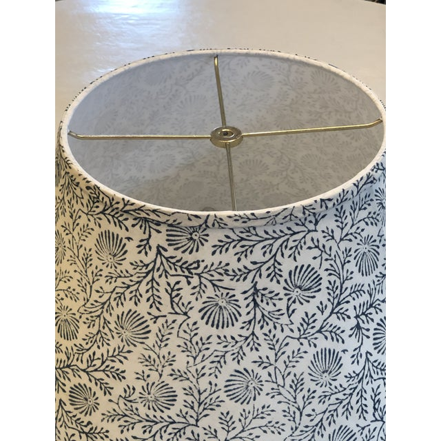 Indian Large Indian Block Print/Spray Scalloped Lamp Shade For Sale - Image 3 of 4