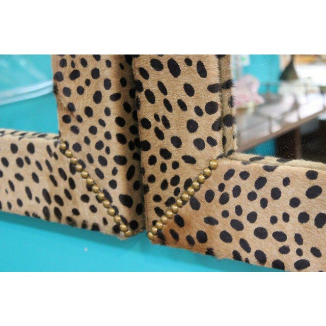 Custom Made Mid Century Modern Faux Leopard Leather Frame Mirrors - a Pair For Sale - Image 4 of 7