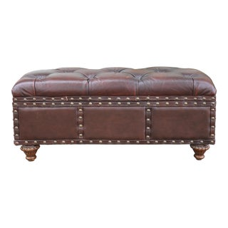 1990s Vintage Leather Trunk Storage Bench For Sale