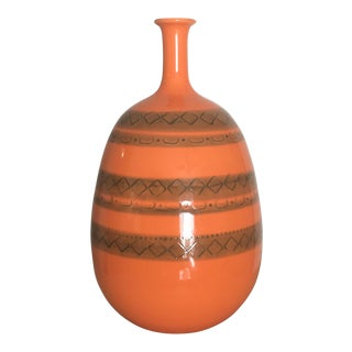 Mid Century Modern Style Italian Orange Ceramic Vase For Sale