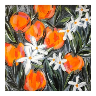"Morgan Rollinson ""Orange Blossoms for Hadley"" Original Acrylic Painting With Oil Pastels on Wood"
