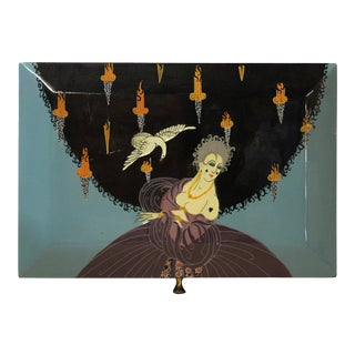 Lacquer Painting Dress Up English Lady Surrounded With Flying Swan Storage Box For Sale