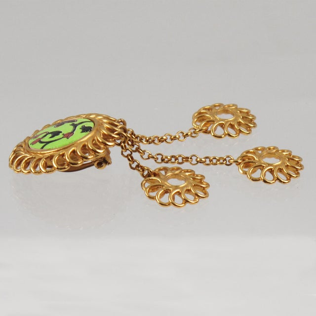 Kenzo Paris Drop Dangling Floral Gilt Metal With Ceramic Clip on Earrings For Sale - Image 4 of 8
