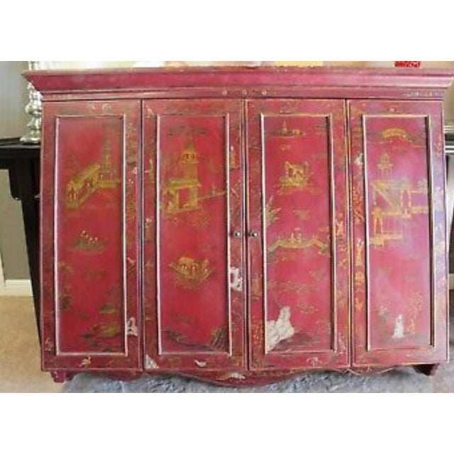 Red Maitland Smith Chinoiserie Wall Cabinet For Sale - Image 8 of 9