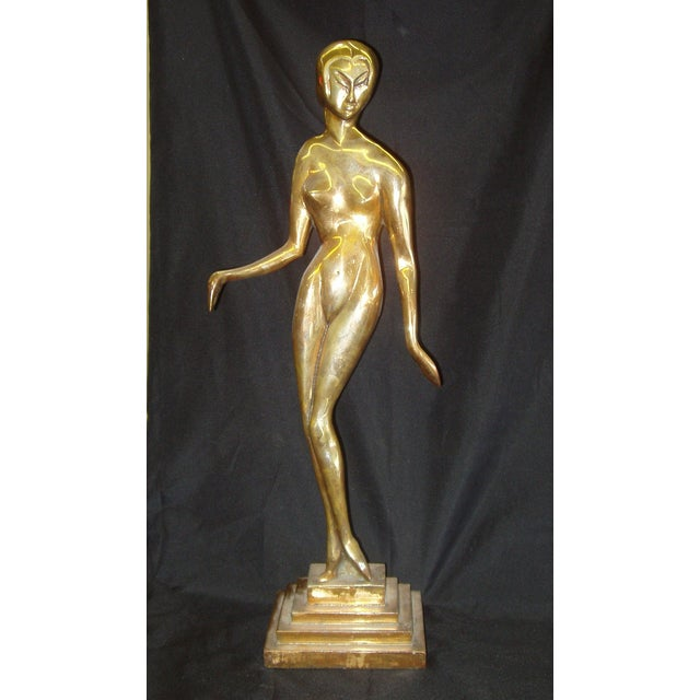 Bronze Nude Female Statue in the Style of Brancusi - Image 2 of 3