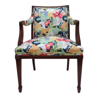 Colorful Upholstery Bold Accent Side Arm Chair For Sale