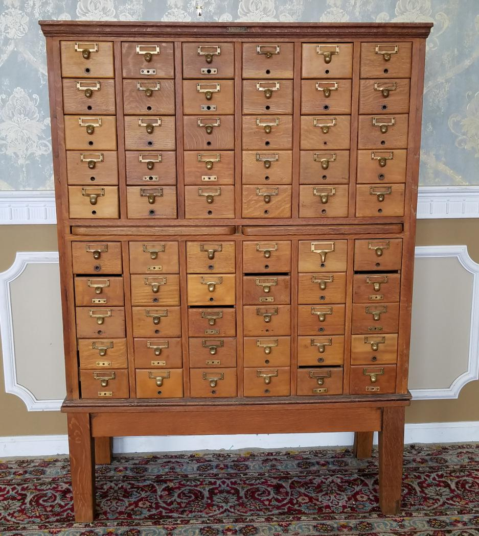 Delicieux Industrial Vintage Quartered Oak Gaylord Bros. Inc 60 Drawer Library Index  Card Catalog File Cabinet