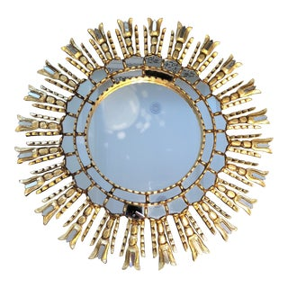 Gold Leaf Sunburst Mirror For Sale