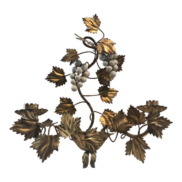 Gold Leaf and Cream Grapes Wall Hung Candleabra For Sale