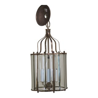 Small Curved Beveled Glass Hanging Chandelier Fixture For Sale