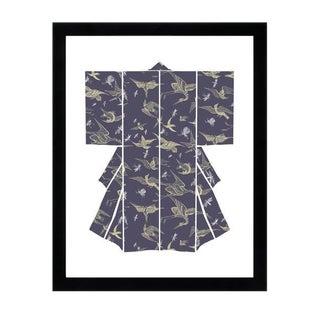 """""""Kimono-Chasing Birds Black"""" Framed Wall Art For Sale"""
