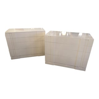 Linen Lacquer Bachelor Chests - A Pair For Sale