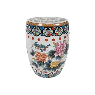 Peacock & Floral Motif Garden Stool For Sale