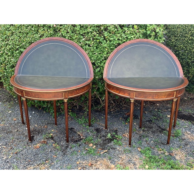 Traditional Crotch Mahogany Demilune Game Tables -A Pair For Sale - Image 3 of 13