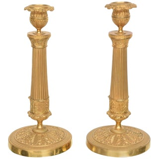 19th Century Louis XVI Style Neoclassical Gilt Brass Candle Sticks - a Pair For Sale