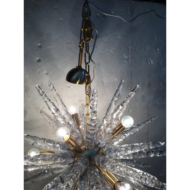 Metal Murano Glass Sputnik Metal Frame Gold Brushed Chandelier For Sale - Image 7 of 12