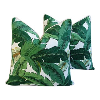 "24"" Custom Tailored Tropical Lush Banana Leaf Feather/Down Pillows - Pair For Sale"