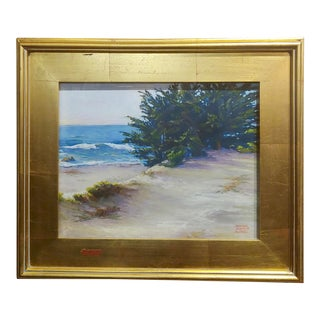 Donna Jensen Burke -Sandy Overlook at a Mendocino Beach-Painting For Sale