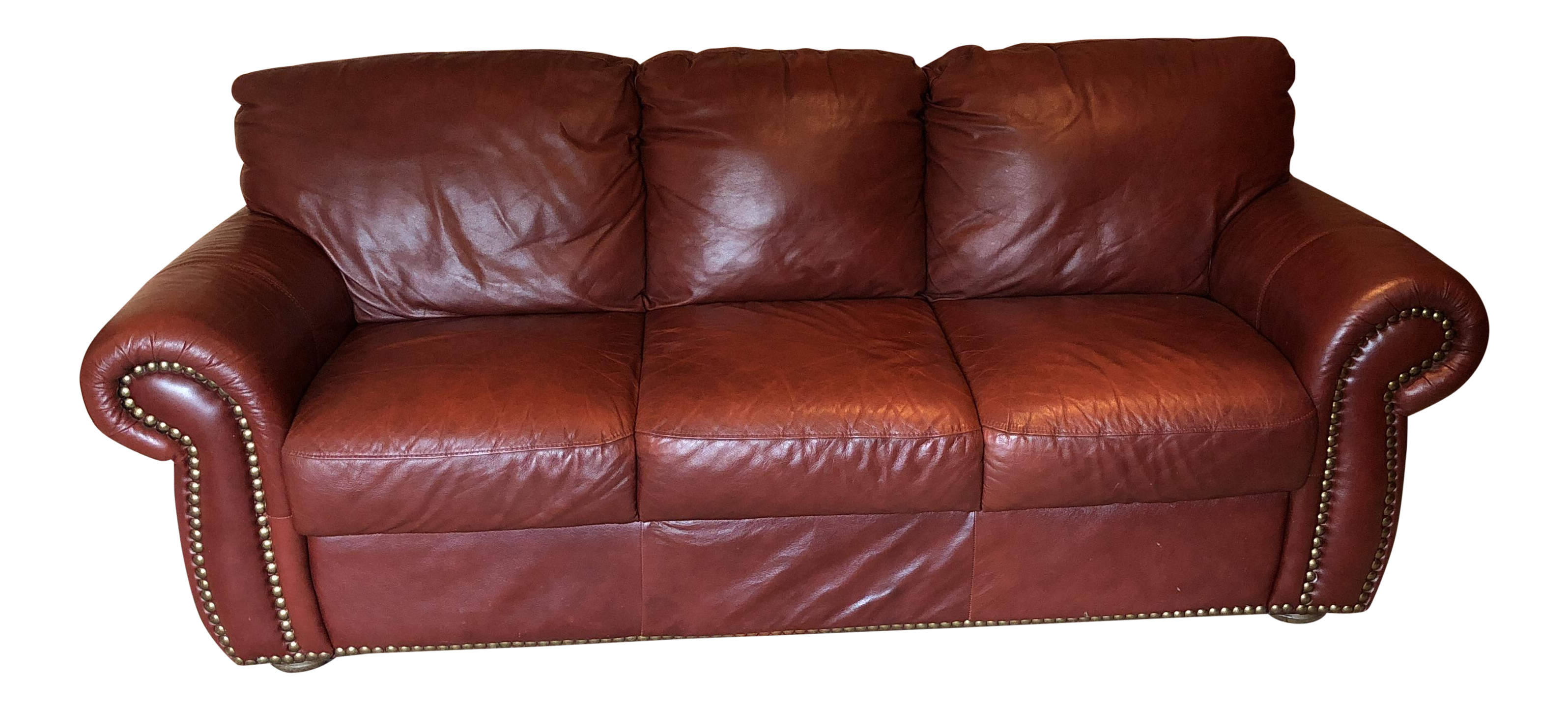 Chateau D Ax Divani Italian Red Leather Sofa