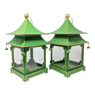 Asian Antiqued Two-Tier Green Tole Pagoda Lanterns - a Pair For Sale