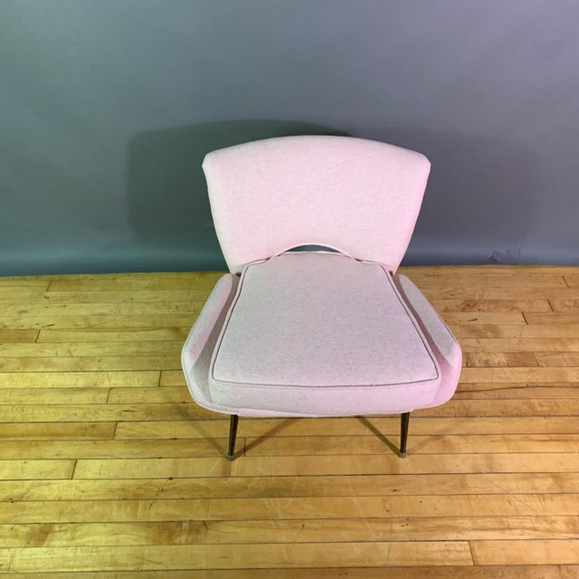 Black Italian 1950s Boudoir Chair, Pink Felted Wool For Sale - Image 8 of 11