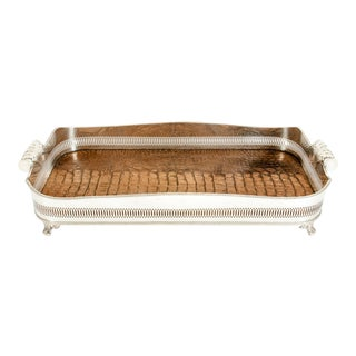 English Plated Crocodile Interior / Side Handles Barware Tray For Sale