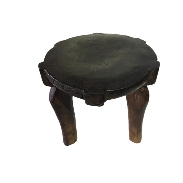 """African Old Carved Wood Milk Stool Hehe Gogo People Tanzania 10.25"""" H For Sale - Image 9 of 12"""