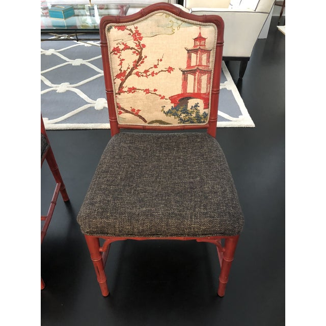 Late 20th Century Chinoiserie Faux Bamboo Style Chairs- a Pair For Sale - Image 5 of 9