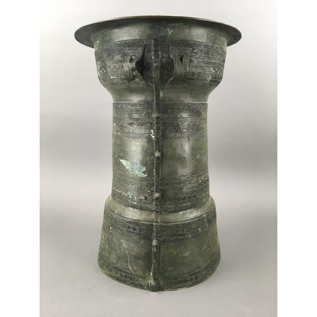 Antique Burmese Thai Bronze Frog Rain Drum Side Table For Sale - Image 4 of 6