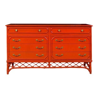 Fabulous Restored Vintage Ficks Reed Chest in Chinese Red Lacquer For Sale