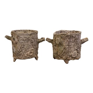 Early 20th Century French Weathered Concrete Tree Stump Shape Planters - a Pair For Sale