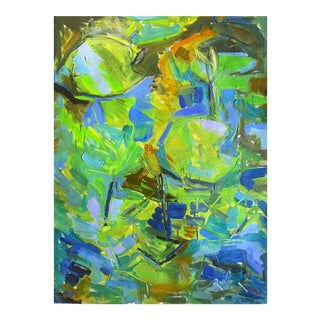"Large Abstract Oil Painting by Trixie Pitts ""Lily Pond"" For Sale"