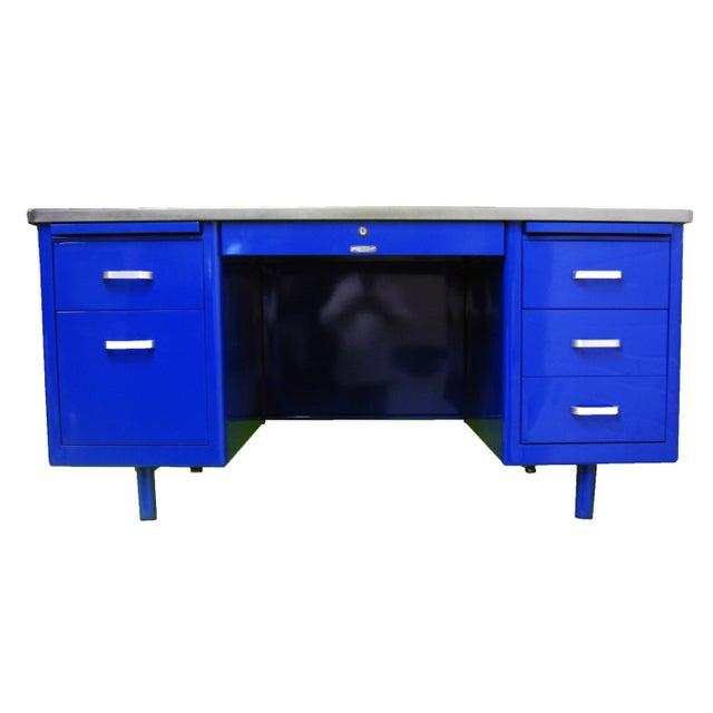 Steelcase Vintage Mid-Century Modern Blue Steel Tanker Desk For Sale - Image 4 of 4