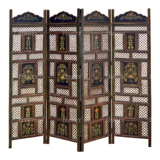 Vintage Indian Painted Screen With Floral Detail For Sale