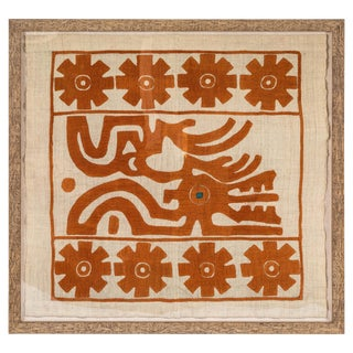 """""""Eye of the Dragon"""" 1930s-1940s Eastern European Hand-Stitched Applique Panel For Sale"""