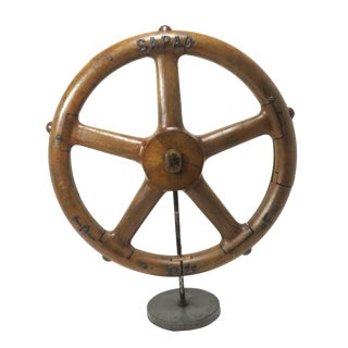 Vintage Iron Foundry Wheel Mold With Stand For Sale