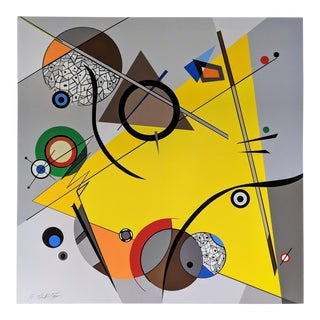 """Atsuko Okamoto Abstract Serigraph on Canvas """"Movement Yellow"""" A. P. Signed For Sale"""