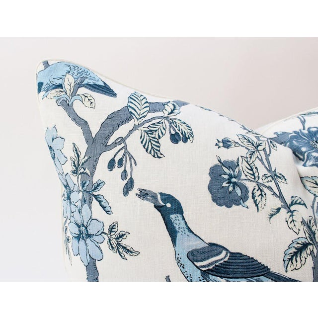 Blue and Ivory Chinoiserie Bird Pillows, a Pair For Sale In Atlanta - Image 6 of 8